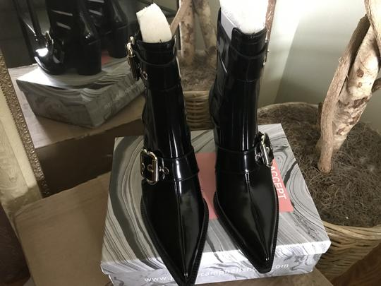 Jeffrey Campbell Ankle Pointed Toe Patent Leather Silver Buckles Black Boots Image 4