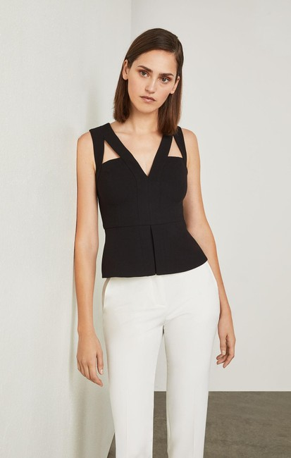 BCBGMAXAZRIA Bcbg Exclusive V-neck Peplum Hailee Top Black Image 1