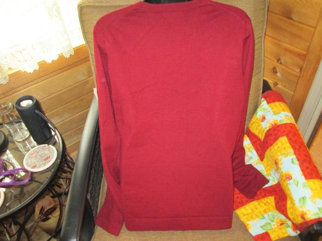 Eddie Bauer V-neck Burgundy Casual Fall Winter Sweater Image 1