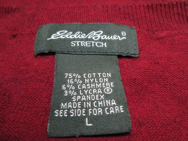 Eddie Bauer V-neck Burgundy Casual Fall Winter Sweater Image 3