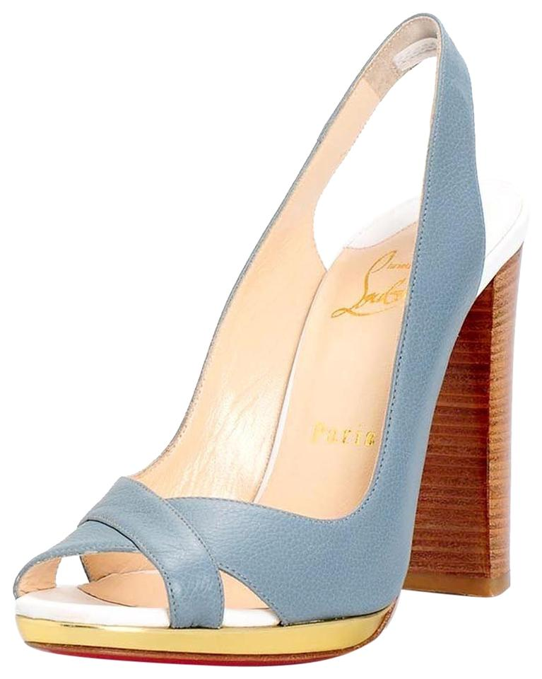 Christian Louboutin Light Blue Morphea Slingback Chunky Heeled Sandals