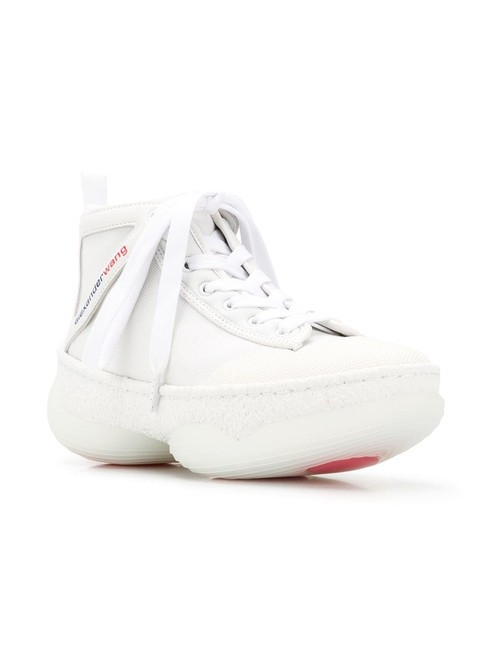 Item - White Lace Up Hi-top Sneakers Size EU 38 (Approx. US 8) Regular (M, B)
