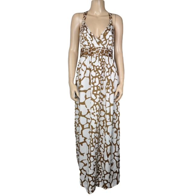 Item - Brown White Strappy Ruched Sun Long Casual Maxi Dress Size 6 (S)