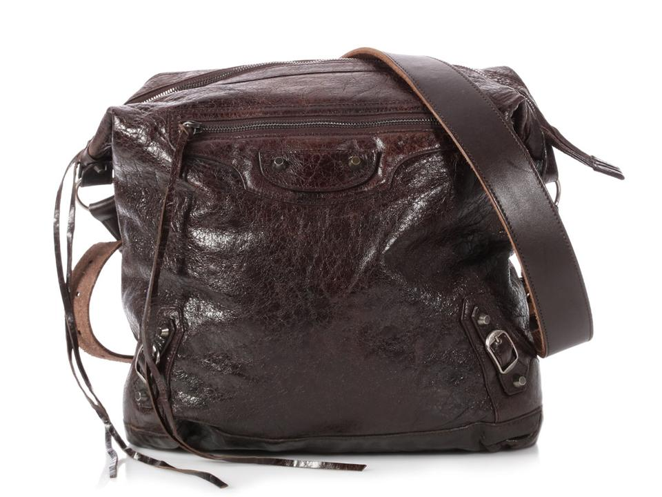 432b1078f8 Balenciaga Men's Classic Day Chocolate Brown Leather Messenger Bag ...