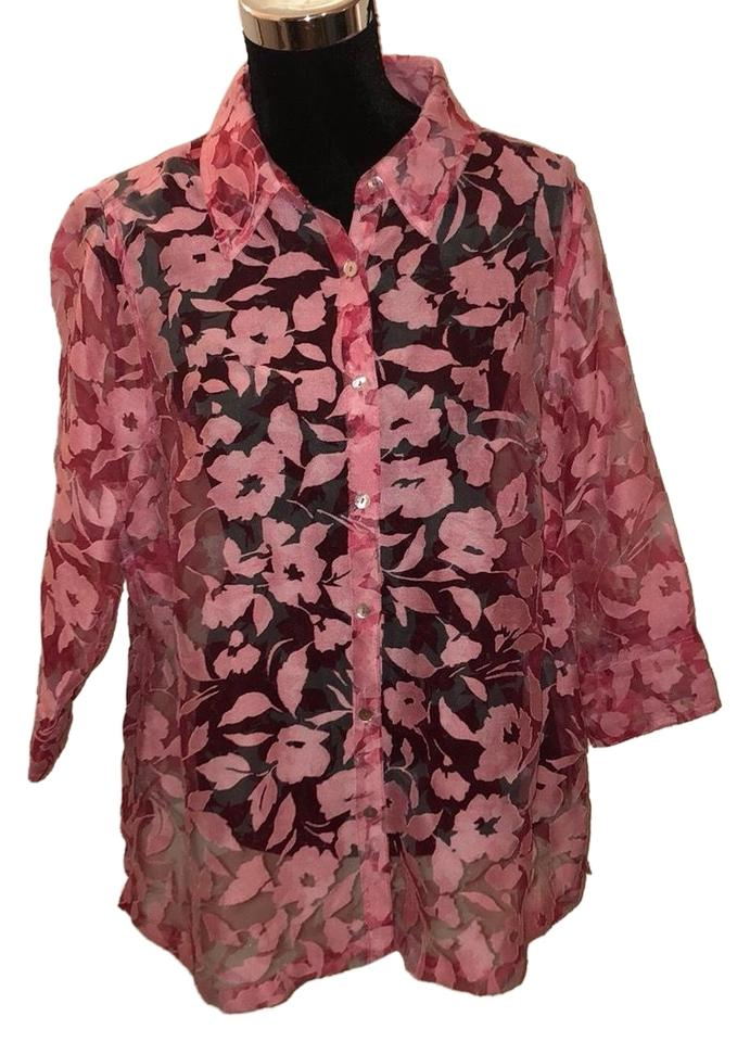 34a2f9a4 Kim Rogers Pink Sheer Floral 3/4 Sleeve Button-down Top Size 20 ...
