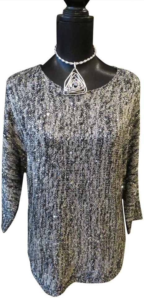 6ce3440c0c Chico s L Black Silver Sequin Knit Sweater - Tradesy