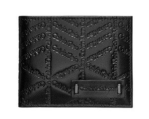 Calvin Klein Black City Grid Embossed Logo Passcase Mens Wallet