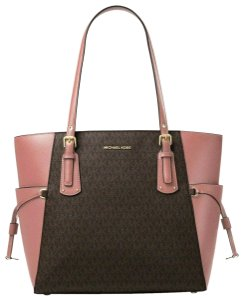 c49ffd7d1040 Michael Kors Voyager East West Signature Rose/Brown Polyester Tote ...