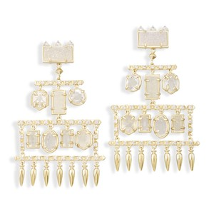 Kendra Scott Emmylou Statement Earrings in White Gold