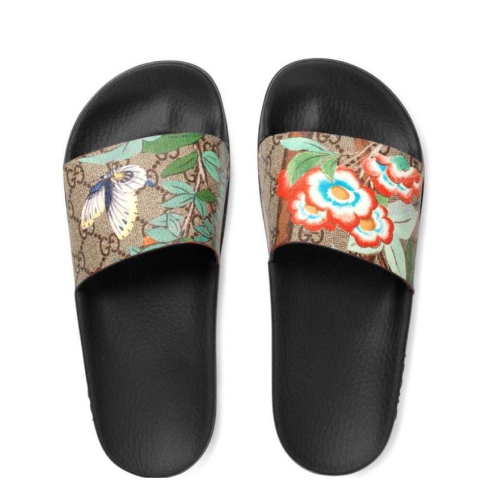 95ce9d8eabab0c Gucci Black Brown Blue Multi Green Slide and Dust Bags Sandals. Size  US 9  ...