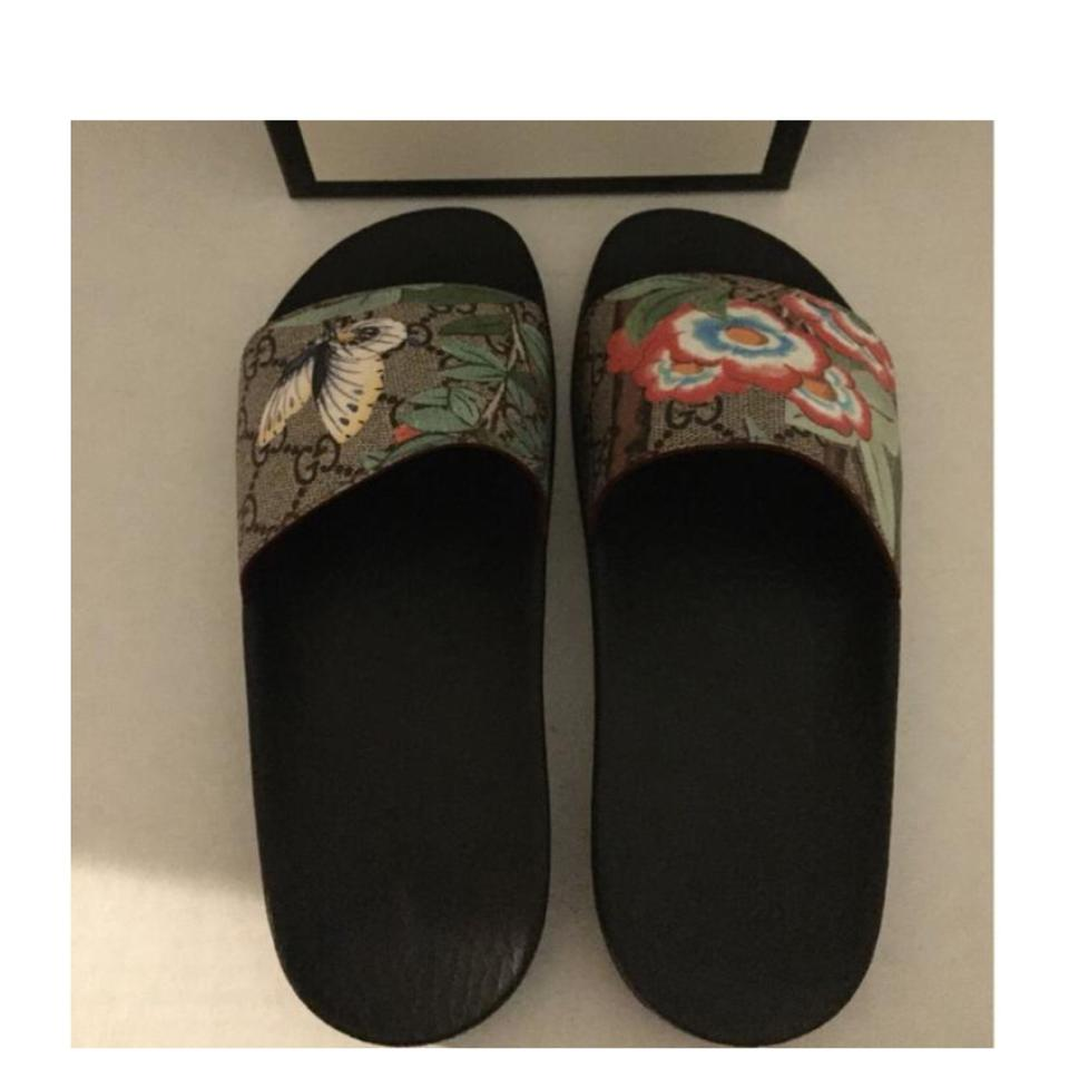 368747ec6a38c9 Gucci Black Brown Blue Multi Green Slide and Dust Bags Sandals Size ...