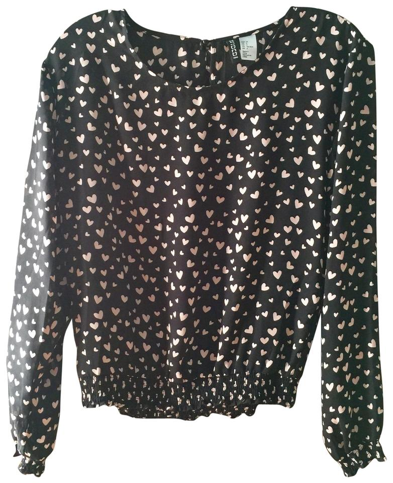 Divided By H M Black Pale Pink Heart Blouse Size 4 S Tradesy