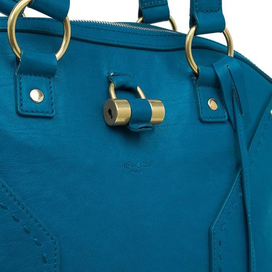 Saint Laurent Leather Padlock Clochette Tote in Turquoise Blue