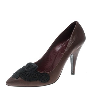 Prada Leather Embroidered Brown Pumps