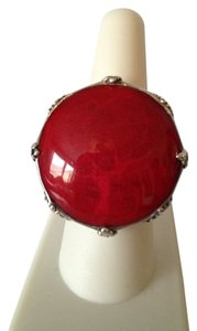 Red Sponge Coral In Sterling Silver Ring, Size 8