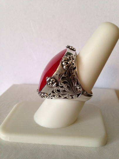Other Red Sponge Coral In Sterling Silver Ring, Size 8 Image 1