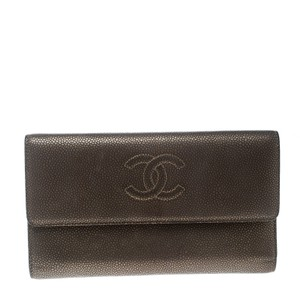 Chanel Bronze Embossed Leather CC Timeless Trifold Wallet