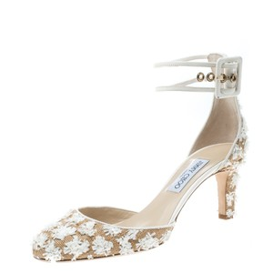 Jimmy Choo Floral Leather Ankle Strap Beige Pumps