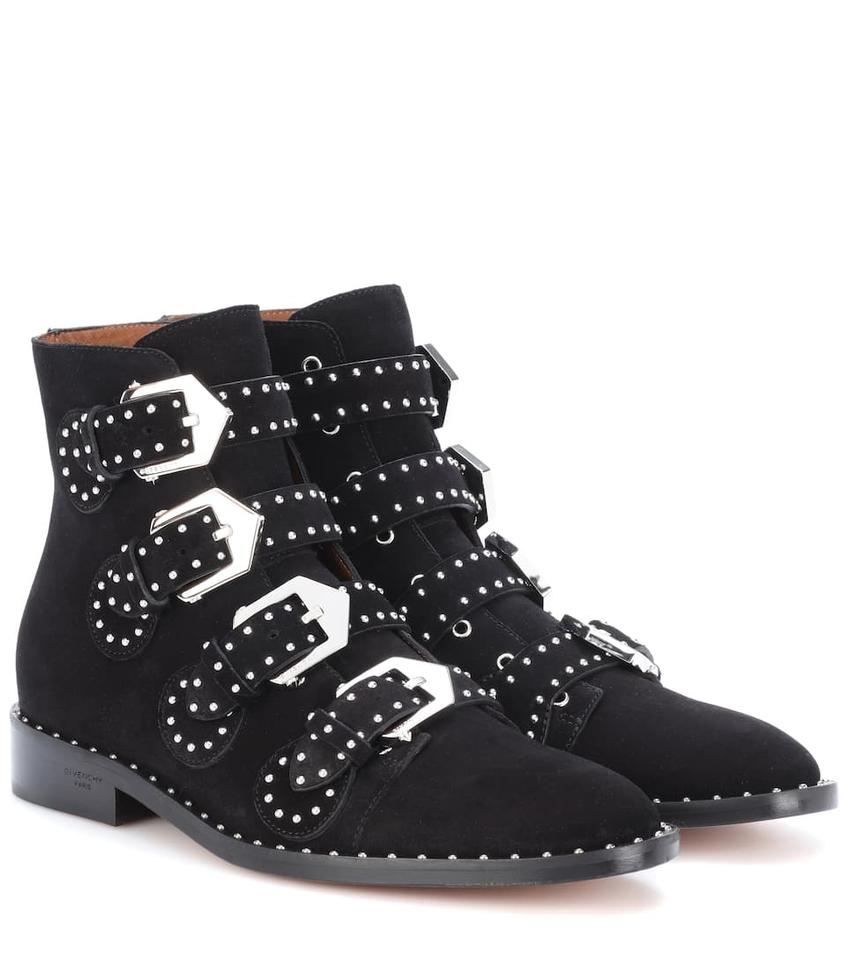 6c6b22e0f651 Givenchy Black Suede Biker Inspired Studded Buckle Ankle Boots ...