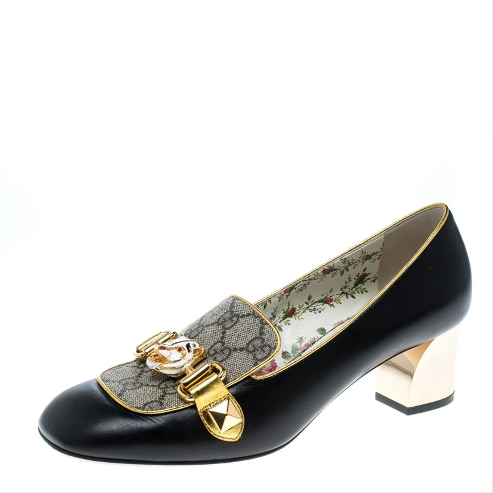 eadac1808 Gucci Black Beige/Black Gg Canvas and Leather Cheryl Loafer Pumps ...
