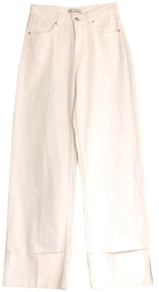 26c60d90 Zara White New Trf Collection Mid Rise Cuff Us 2 Eur 34 Trouser/Wide Leg  Jeans