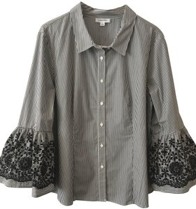 Calvin Klein Button Down Shirt Black White