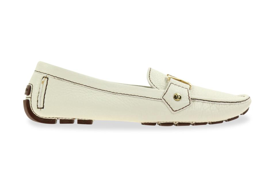 fc8f2740e72c Louis Vuitton White Lv Driving Loafer Flats Size EU 38.5 (Approx. US ...