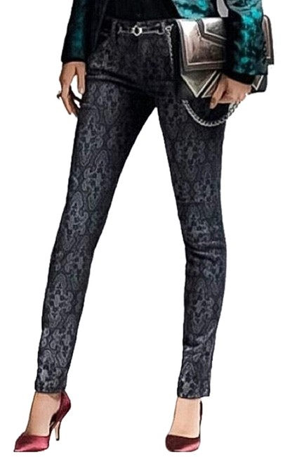 "Current/Elliott Black Gray The Ankle Antique Lace"" Skinny Jeans Size 0 (XS, 25) Current/Elliott Black Gray The Ankle Antique Lace"" Skinny Jeans Size 0 (XS, 25) Image 1"