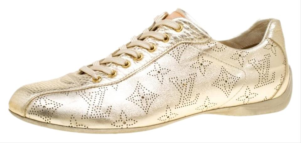 b587434ba67d Gold Metallic Leather Perforated Leather Sneakers Sneakers. LOUIS VUITTON