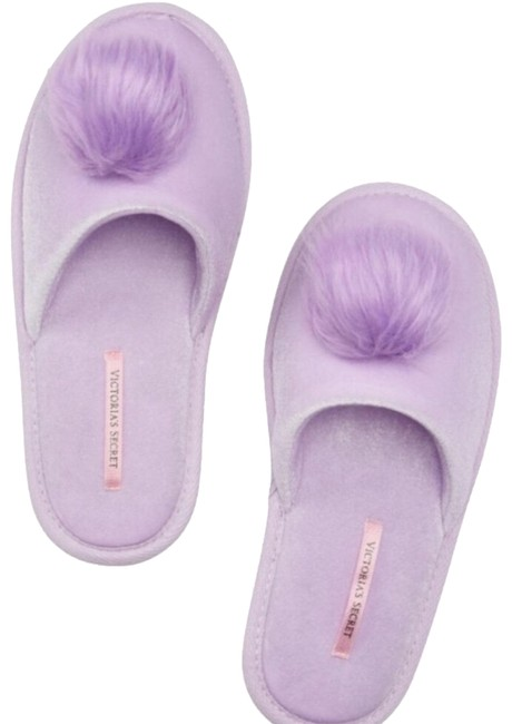 Item - Purple White Velvet Pom Pom Slipper Sandals Size US 7 Regular (M, B)