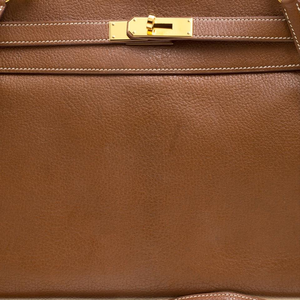 Hermès Kelly Gold Chevre De Coromandel Gold Hardware Retourne Brown ... b66583050863e