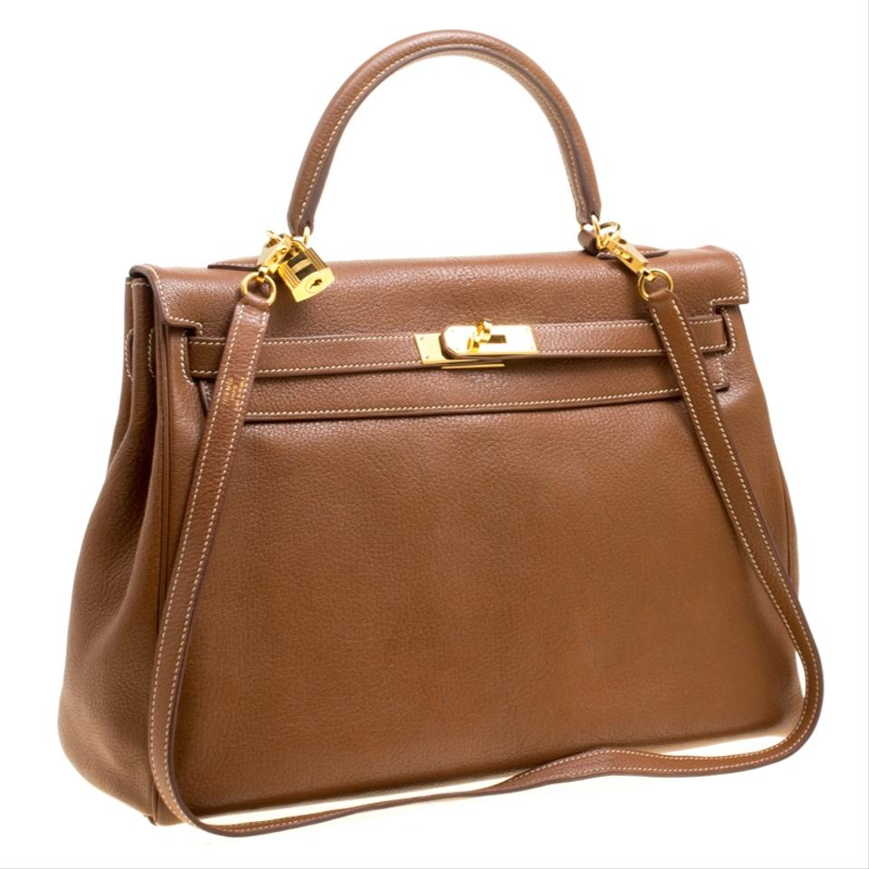 Hermès Kelly Gold Chevre De Coromandel Gold Hardware Retourne Brown Leather  Shoulder Bag - Tradesy 9eac7b636b32c
