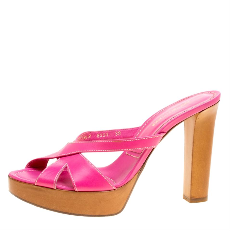 9a722b5980f Sergio Rossi Pink Leather Peep Toe Slides Platforms. Size  EU 38 ...
