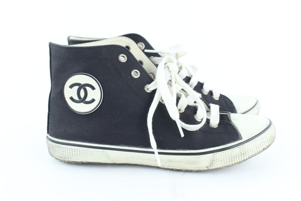 f940765016d98 Chanel Black (Ultra Rare) Cc Logo High Top Old School Sneakers 232513 Flats  Size EU 38 (Approx. US 8) Regular (M, B) 58% off retail