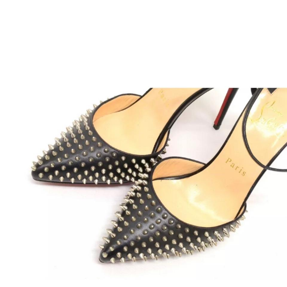 f8654dd85673 Christian Louboutin Black Silver Baila Spike 100mm Pointy Studded Ankle  Strap Sandals Heels Pumps Size EU 37 (Approx. US 7) Regular (M