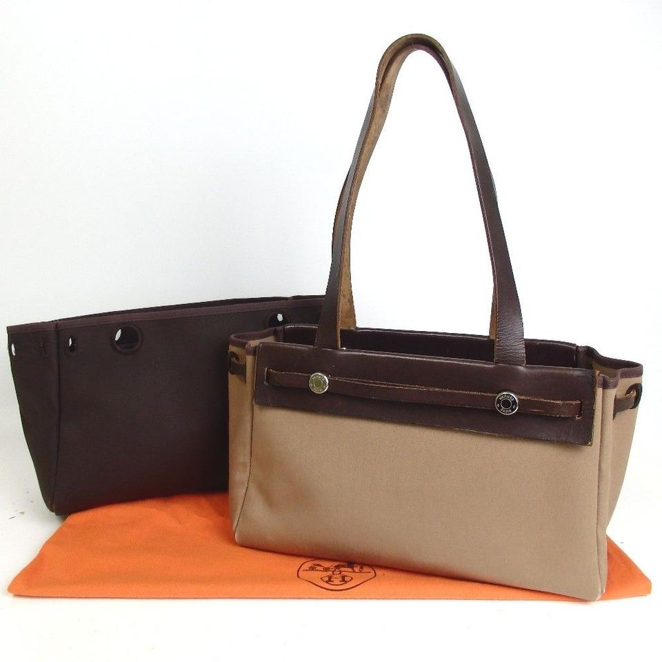 7b35c20b1bd7 Hermès Herbag Cabas 2-in-1 Brown Coated Canvas Leather Tote - Tradesy
