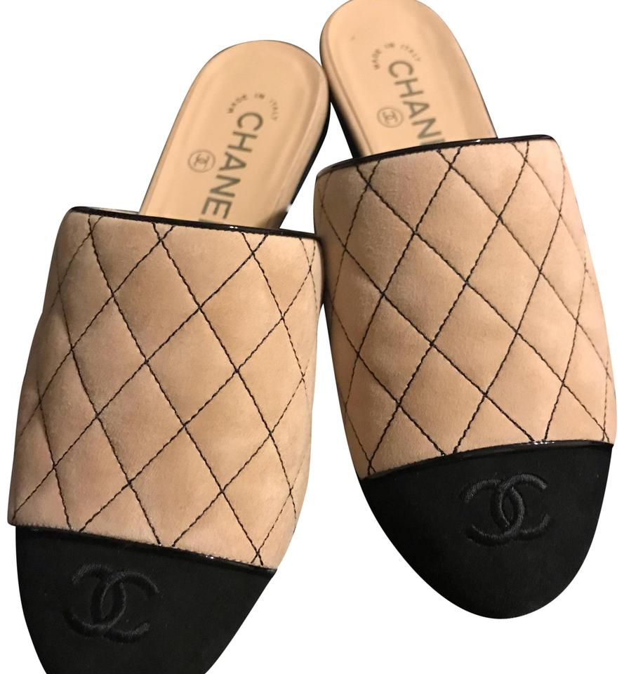 ad3cac126482 Chanel Black & Beige Classic Quilted Flats Size US 6.5 Regular (M, B ...