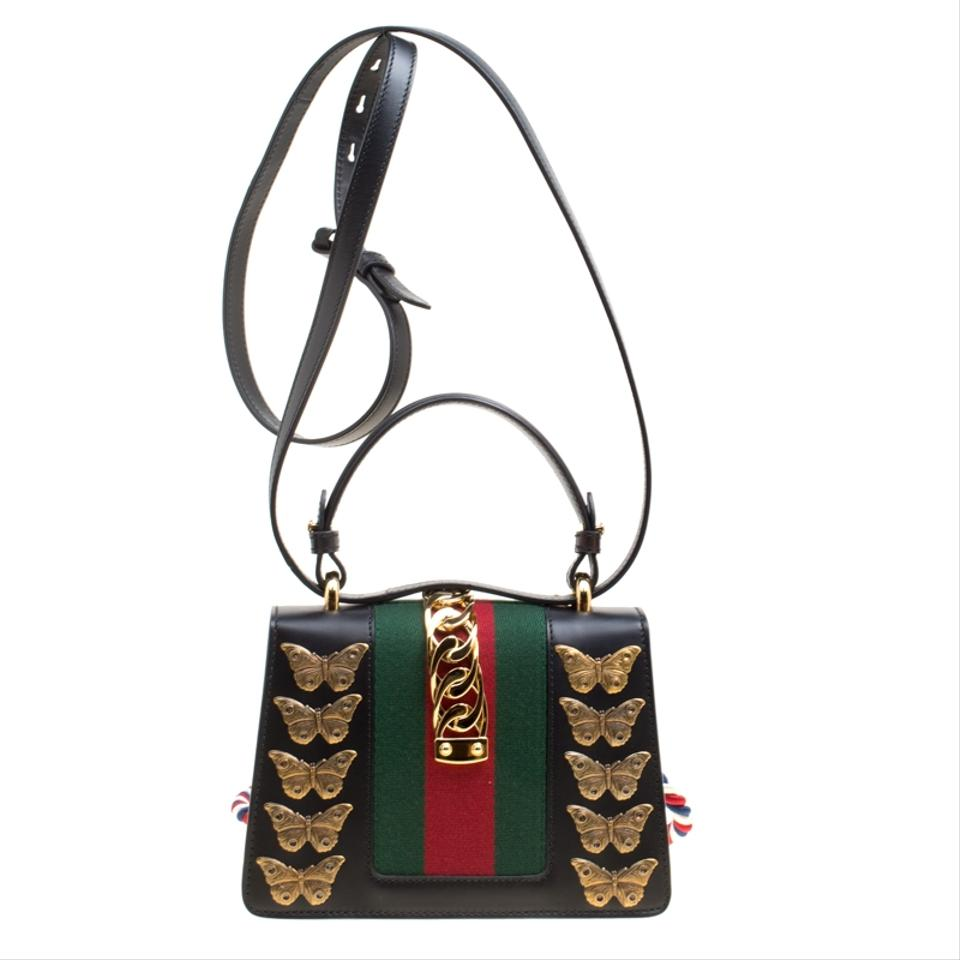 8fc2fb174b9e Gucci Sylvie Mini Animal Stud Embellished Top Handle Black Suede Leather  Shoulder Bag - Tradesy