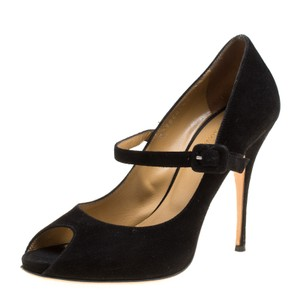 Valentino Suede Peep Toe Leather Black Pumps