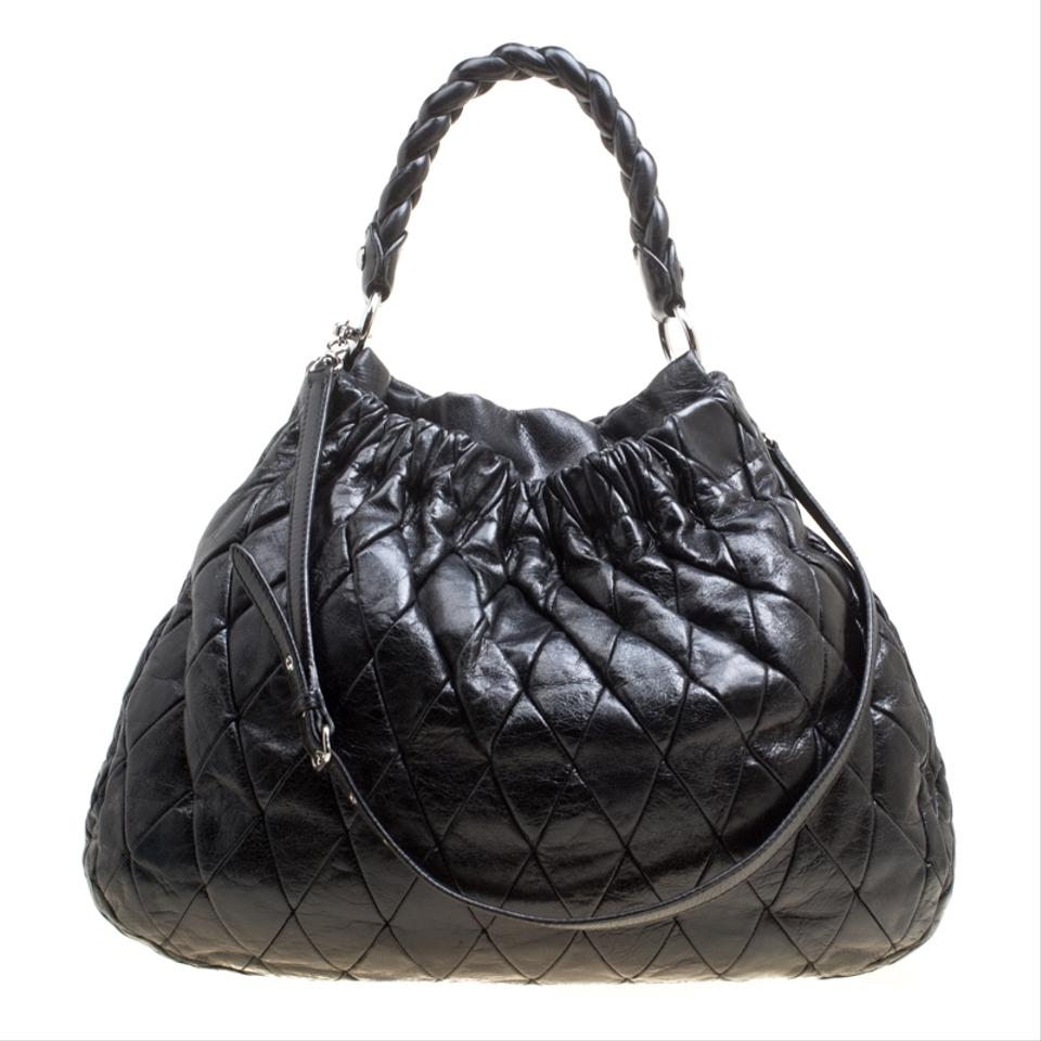 Miu Miu Glazed Quilted Large Harlequin Black Leather Hobo Bag - Tradesy 3dc1c0cdb2d4a