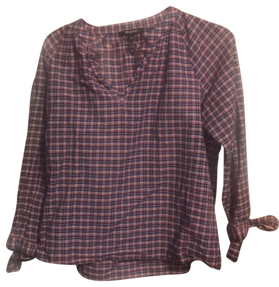 5f0d2b14840f4c Madewell Blue and Red Plaid Blouse Size 4 (S) - Tradesy