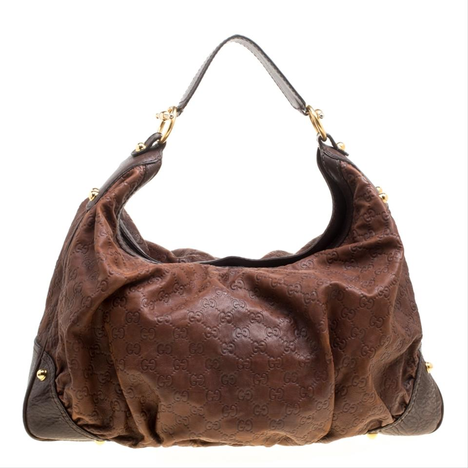 c922c1321d8 Gucci Jackie Guccissima Large Jockey Brown Leather Hobo Bag - Tradesy