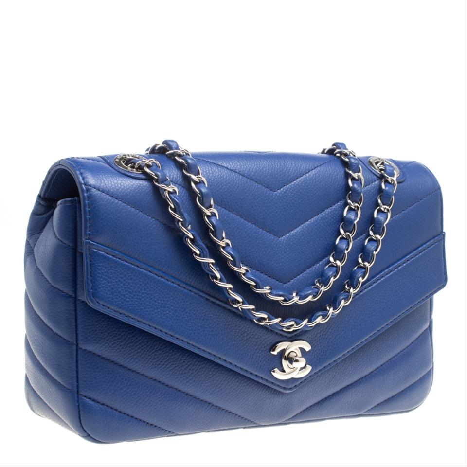 c6cb6f1753d025 Chanel Classic Flap Chevron Quilted Medium Blue Leather Shoulder Bag -  Tradesy