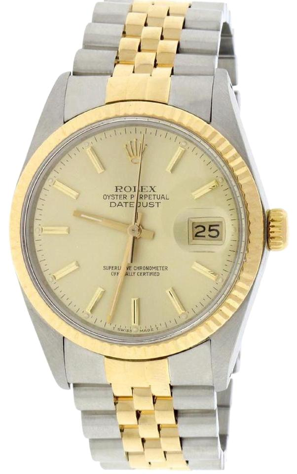 e6ab1ffd3c8 Rolex Datejust Champagne Stick Dial 2-tone 36mm Jubilee 16013 Watch Image 0  ...