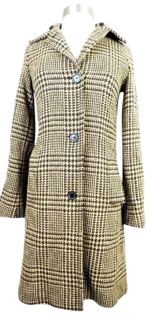 Item - Tan Lambswool Houndstooth Duster Coat Size 2 (XS)