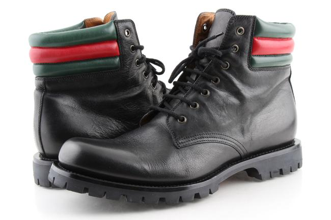 Item - Black Web Strip Combat Boots Shoes