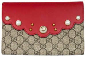 Gucci Limited Edition Gg Supreme BEIGE RED Clutch