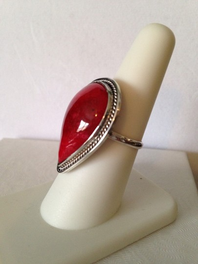 Other Red Coral In Sterling Silver Ring, Size 7 Image 1