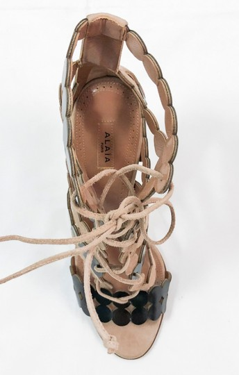 ALAA Lace Up 110mm Leather NUDE Sandals Image 1
