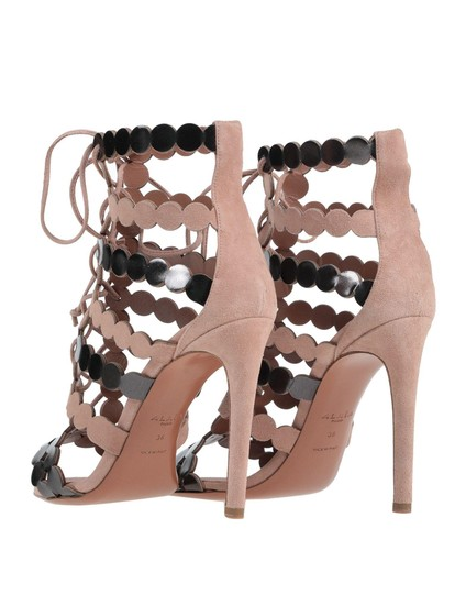 ALAA Lace Up 110mm Leather NUDE Sandals Image 2